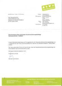 Bescheinigung Sozialversicherung BKK Nord